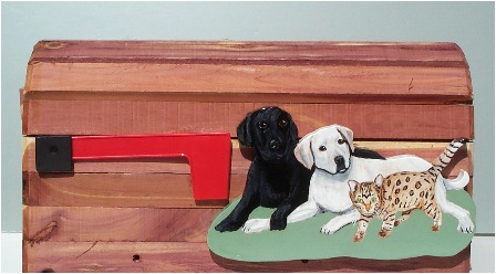 2 Labs and a Cat Cedar Mailbox
