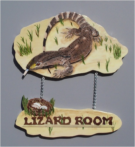 Handpainted Black Throated Monitor Sign