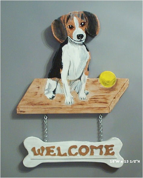Handpainted Beagle Welcome sign