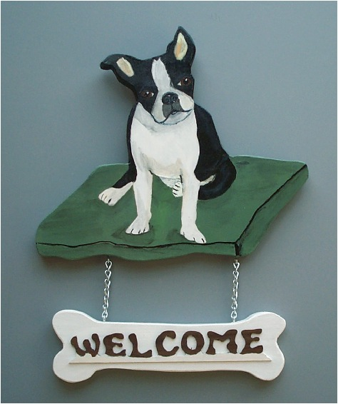 Handpainted Boston Terrier Welcome Sign