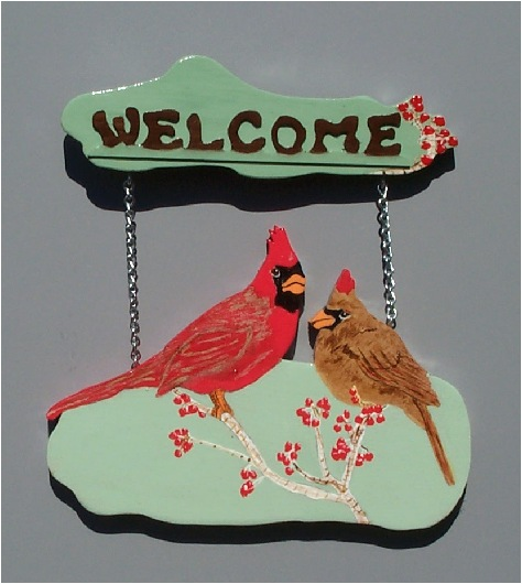 Handpainted Cardinal Welcome Sign