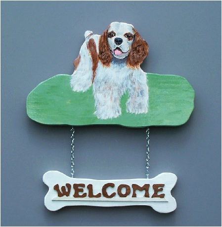 Handpainted Cocker Spaniel Welcome Sign