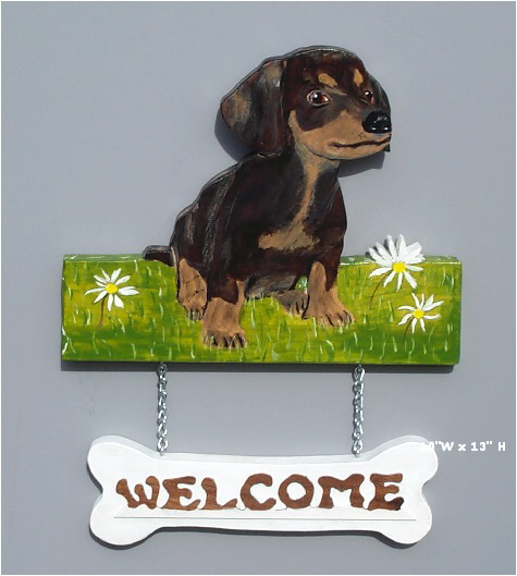 Handpainted Dachshund Puppy Welcome Sign