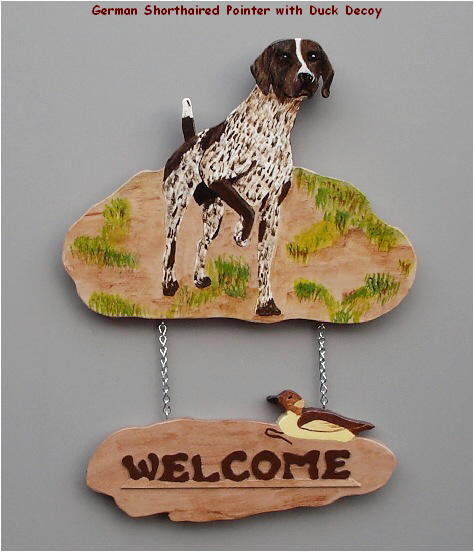 Handpainted German Shorthaired Pointer Welcome Sign
