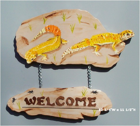 Handpainted Leopard Gecko Welcome Sign