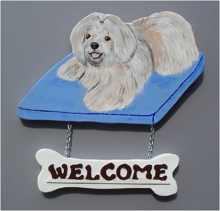 Handpainted Lhasa Apso Welcome Sign