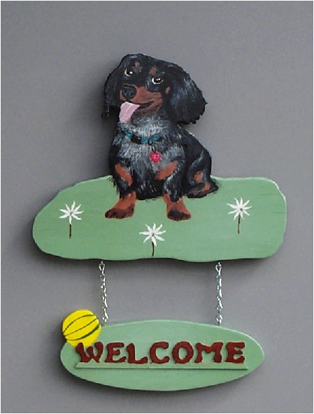 Handpainted longhaired Dachshund Puppy Welcome Sign