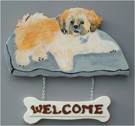 Handpainted Shih-Tzu Welcome Sign