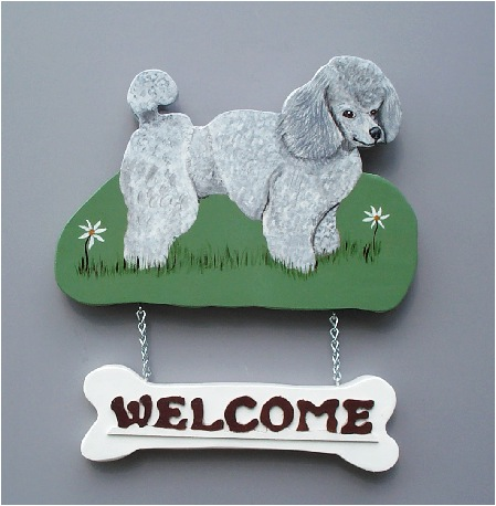 Handpainted Silver Poodle Welcome Sign