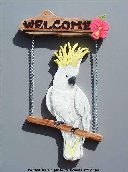 Handpainted Moluccan Cockatoo Welcome Sign