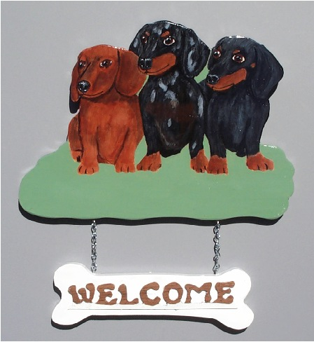 Handpainted 3 Dachshund Welcome Sign