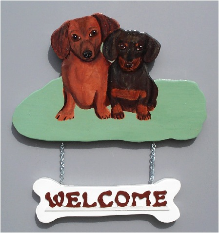 Two Dachshund Welcome Sign