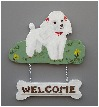Handpainted Toy Poodle Welcome Sign