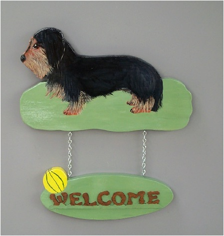 Wire Haired Dachshund Handpainted Welcome Sign